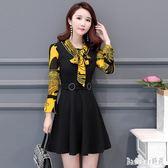大尺碼洋裝 秋季韓版女裝媽媽裝修身中長款長袖雪紡連身裙 EY5006『Bad boy時尚』