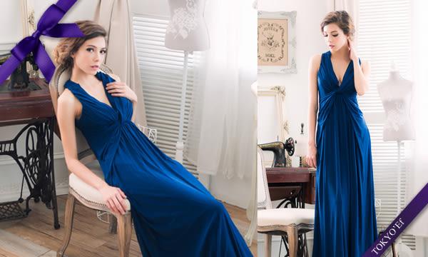 東京衣服 英倫情懷 深V抓皺扭結 女神輪廓 美背交叉長禮服 深藍
