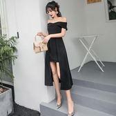 洋裝 小禮服 性感一字領露肩禮服赫本小黑裙修身顯瘦連身裙子