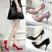 女鞋子夏季2018新款韓版百搭淺口單鞋細跟尖頭小清新高跟鞋女中跟 時尚潮流