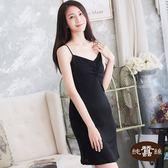 【岱妮蠶絲】AC4219N純蠶絲42針110G前抽縐細肩帶襯裙睡衣(黑)