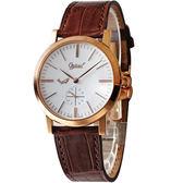 Ogival 愛其華 經典超薄手上鍊機械腕錶(玫瑰金) 388-1MR皮