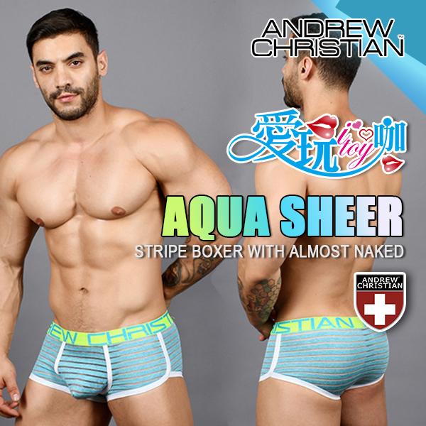 美國 ANDREW CHRISTIAN 水波藍輕薄條紋四角內褲 AQUA SHEER STRIPE BOXER WITH ALMOST NAKED