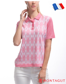 女款短袖POLO衫 夢特嬌法國製造亮絲系列 菱紋短袖-粉紅
