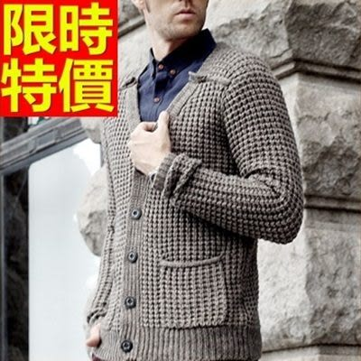 男款外套毛衣美麗諾羊毛-大方秋冬保暖復古男開襟針織衫64k3[巴黎精品]