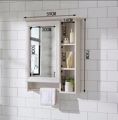 浴室櫃 浴室鏡柜掛墻式鏡箱帶置物架洗手間梳妝鏡子防水儲物收納柜TW【快速出貨八折下殺】
