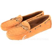 BOTTEGA VENETA 麂皮編織綁帶莫卡辛鞋(南瓜色) 1510380-25