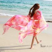 夏季韓版絲巾女長版雪紡披肩圍巾兩用超大海邊紗巾沙灘巾絲巾  一件免運