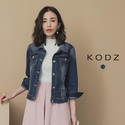東京著衣【KODZ】率性街頭刷色排釦牛仔外套(190018)