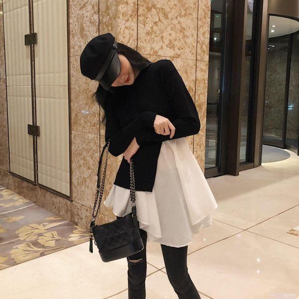 秋裝女新款韓版chic氣質黑白拼接針織不規則長袖假兩件洋裝 免運