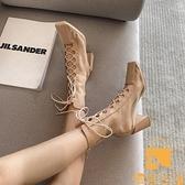 網紗鏤空瘦瘦靴子馬丁靴女薄款百搭高跟細跟短靴網靴【慢客生活】
