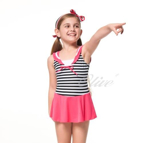 ☆小薇的店☆台灣製聖手品牌【海軍風格】女童連身裙泳裝特價790元NO.A88501(10-14)