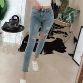 夏季新款修身顯瘦九分褲低腰破洞小腳鉛筆牛仔褲