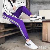 夏季新款韓版時尚寬鬆運動褲女小腳褲黑色學生休閒束腳長褲哈倫褲CY2254【優品良鋪】