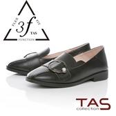 TAS金屬造型飾扣復古牛皮踩腳懶人鞋-人氣黑