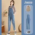 吊帶褲 牛仔吊帶褲女韓版寬鬆春季2021年新款小個子顯瘦減齡時尚寬管褲子
