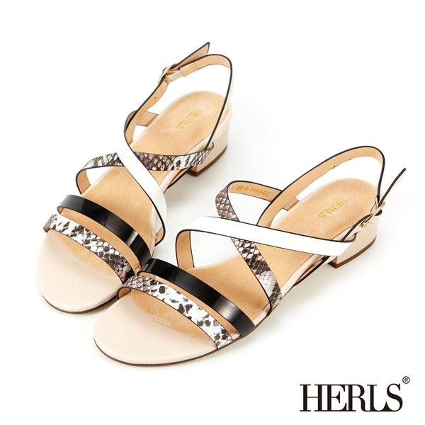 涼鞋-HERLS  內真皮 渲染蛇紋拼色涼鞋-黑色