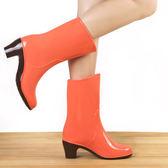 季可加絨雨鞋女雨靴高跟中筒水鞋加絨套鞋加棉保暖雪地水靴 綠光森林