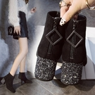 短靴 2020新款秋冬季保暖ins馬丁靴女英倫網紅風粗跟切爾西短筒小 店慶降價