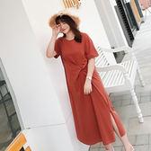 大韓訂製簡約小心機腰部打結純色佛系連衣裙女大碼女裝