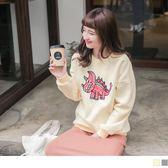 《AB8465》可愛恐龍刺繡內磨毛衛衣/上衣 OrangeBear