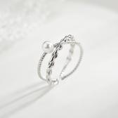 珍珠戒指女時尚個性開口小眾設計食指戒