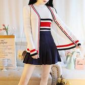 VK精品服飾 韓國學院風針織條紋針織排扣外套百褶裙套裝長袖裙裝