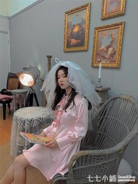 七夕情人節少女心頭紗森系旅游拍照珍珠蝴蝶結新娘頭紗超仙抖音