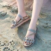 平底拖鞋ulzzang涼拖鞋女夏季外穿時尚ins百搭沙灘新款網紅chic女鞋潮 可然精品