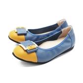 【南紡購物中心】W&M (女)圓頭拼接方釦 娃娃鞋 平底鞋 女鞋 -藍(另有灰.黑)