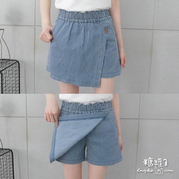 【五折價$399】糖罐子韓品‧接片皮標造型縮腰直條口袋褲裙→預購(M/L)【KK6557】