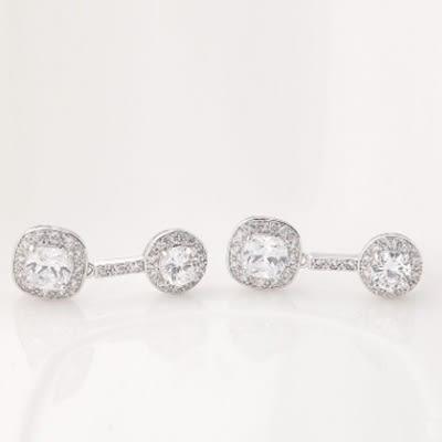 耳環 純銀鍍白金 鑲鑽-高貴典雅生日情人節禮物女飾品4色73cr148[時尚巴黎]