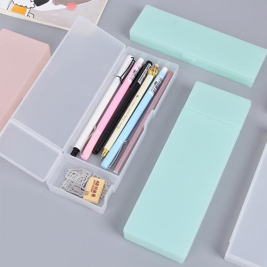 ✭米菈生活館✭【P126】簡約純色磨砂文具盒(大) 半透明 學生用品 設計 辦公用品 多色