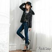 Victoria 中腰提臀燙鑽小直筒褲-女-深藍