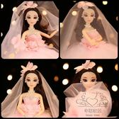 (中秋大放價)婚紗芭芘比娃娃大裙擺粉色3D真眼兒童女孩公主新娘情人節玩具新年禮物