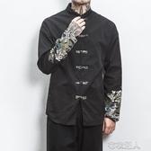 唐裝 秋季中國風刺繡唐裝盤扣夾克男復古民族拼接撞色長袖薄款男裝外套 遇見初晴