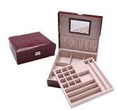 飾品盒 雙層 鱷魚紋 鏡面 絨布 方形 飾品盒 首飾盒【DSP01104】 ENTER  01/18