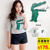 MIUSTAR 正韓‧手繪Q版鱷魚寬鬆棉質上衣(共2色)【NH0475RE】預購