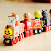 木質6節磁性面包超人小火車兒童益智木制玩具早教2-3-4-5-6歲積木