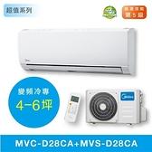 ↙0利率↙Midea美的 5級能效 變頻冷專 分離式壁掛冷氣 MVC-D28CA/MVS-D28CA 約4~5坪【南霸天電器百貨】