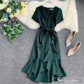 復古純色性感V系短袖高腰繫帶前短后長開叉不規則荷葉邊連身裙女『韓女王』