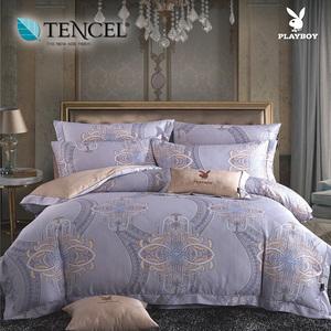 【貝兒寢飾】PLAYBOY 60支萊賽爾天絲兩用被床包+刺繡抱枕五件組(加大/肖邦舞