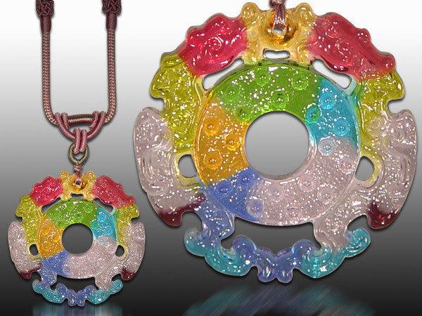 鹿港窯~居家開運水晶琉璃項鍊~美璧雙龍◆附精美包裝◆免運費送到家