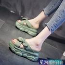增高拖鞋 拖鞋女外穿厚底夏季新款高跟一字拖懶人內增高涼拖 星河光年