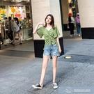 2021夏季新款韓版牛油果綠上衣女V領短款T恤設計感 微愛家居生活館