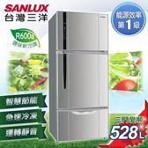 ★贈法國餐盤五件組 SANLUX台灣三洋 冰箱 528L三門直流變頻冰箱 SR-B528CV