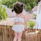 泳衣女童泳衣2020女孩女寶寶嬰兒小童兒童蕾絲游泳衣分體公主裙式泳裝 玩趣3C