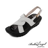 涼鞋 質感真皮美型厚底鞋(白)*BalletAngel【18-892w】【現貨】