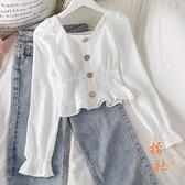 雪紡衫女方領襯衫復古收腰長袖修身短款上衣【橘社小鎮】