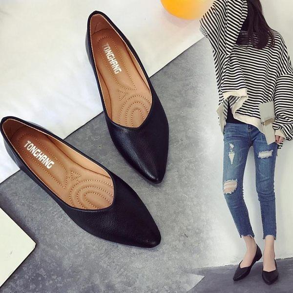 現貨出清 平底單鞋女韓版新款簡約工作鞋女款黑色小皮鞋平跟女鞋子 卡布奇諾 11-13